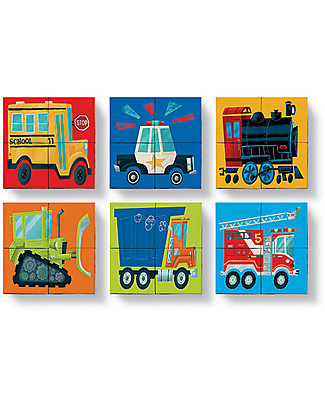Crocodile Creek Mini Block Puzzle, Busy Vehicles: Train, Truck, Police Car and Fire Engine! - 4 pieces Creative Toys