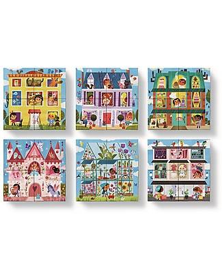 Crocodile Creek Mini Block Puzzle, Little Miss Architect - 4 pieces for endless combinations! Puzzles