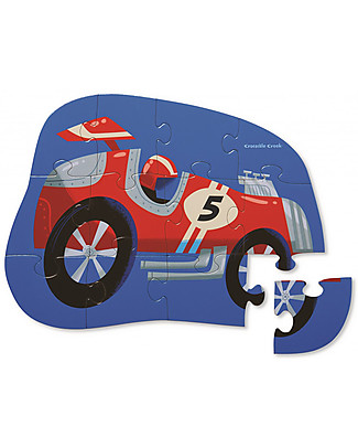 Crocodile Creek Mini Shaped Box Puzzle, Race Car - 12 pieces - It helps Coordination and Logics! Puzzles