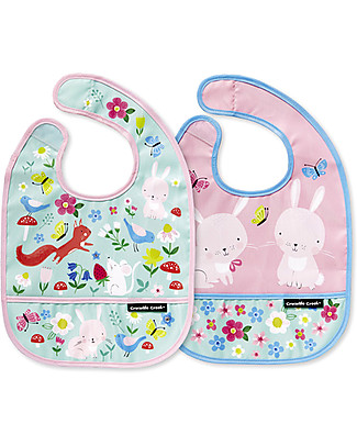 Crocodile Creek Set of 2 Water Resistant Bibs, Backyard Friends - Includes zippered travel pouch! Waterproof Bibs