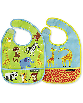 Crocodile Creek Set of 2 Water Resistant Bibs, Little Jungle - Includes zippered travel pouch! Waterproof Bibs