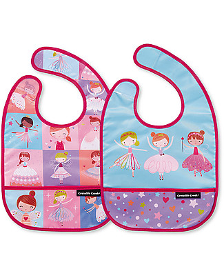Crocodile Creek Set of 2 Water Resistant Bibs, Sweet Dreams - Includes zippered travel pouch! Waterproof Bibs