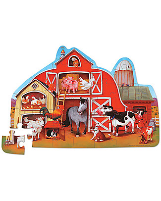Crocodile Creek Shaped Puzzle, Barnyard - 30 pieces - Fun and Educational! Puzzles