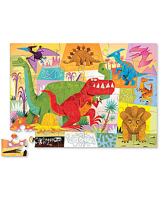 Crocodile Creek Shaped Puzzle, Dinosaur - 36 pieces - Wonderful Illustrated Box and Great Gift Idea! Puzzles