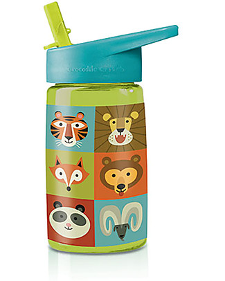 Crocodile Creek Tritan Children's Drinking Bottle 500 ml, Animalia - Safe and recyclable! BPA-Free Bottles