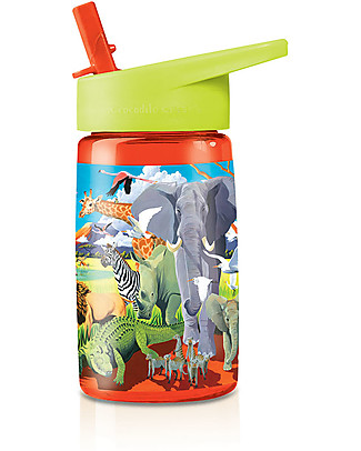 Crocodile Creek Tritan Children's Drinking Bottle 500 ml, Safari - Safe and Recyclable! BPA-Free Bottles