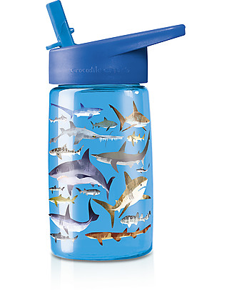 Crocodile Creek Tritan Children's Drinking Bottle 500 ml, Sharkes - Safe and Recyclable! BPA-Free Bottles