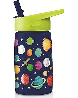 Crocodile Creek Tritan Children's Drinking Bottle 500 ml, Space - Safe and Recyclable! BPA-Free Bottles