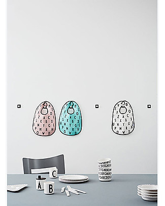 "Design Letters & Friends Alphabet Bib, Pink - ""AJ Vintage ABC"" by Arne Jacobsen Collection Snap Bibs"