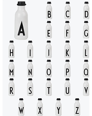 """Design Letters & Friends Personal Drinking Bottle, 500 ml, A -Z  """"AJ Vintage ABC"""" by Arne Jacobsen Collection BPA-Free Bottles"""