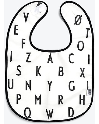 "Design Letters & Friends Alphabet Bib, White – ""AJ Vintage ABC"" by Arne Jacobsen Collection Snap Bibs"