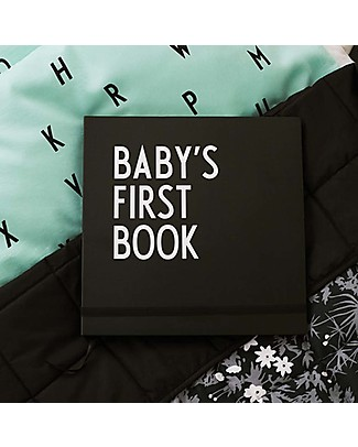 "Design Letters & Friends Baby's First Book, Black, 25 x 25 cm – ""AJ Vintage ABC"" by Arne Jacobsen Collection Baby's First Albums"