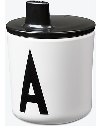 Design Letters & Friends Drink Lid for Letter Cup, Black – Easy to use sippy cap! Cups & Beakers
