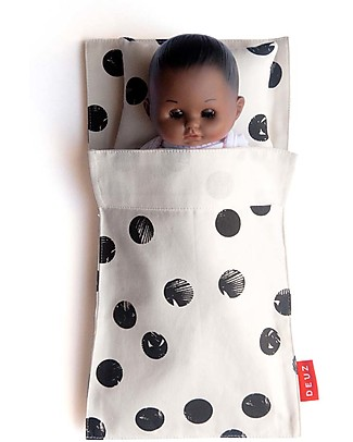 Deuz Doll's Bed Mini Kit Dodo, Black Dots - Organic Cotton Dolls Houses