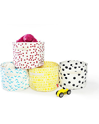 Deuz Portable Toy Storage Baskets – Black Dots – 100% Organic Cotton (30 cm Ø x 25 cm) Toy Storage Boxes
