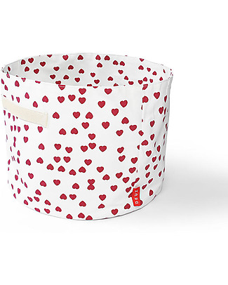 Deuz Portable Toy Storage Baskets – Pink Hearts– 100% Organic Cotton (30 cm Ø x 25 cm) Toy Storage Boxes