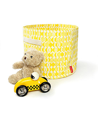 Deuz Portable Toy Storage Baskets – Yellow Leaves – 100% Organic Cotton (30 cm Ø x 25 cm) Toy Storage Boxes