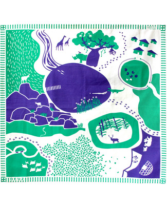 Deuz Tapikid Playmat Animals - 100% Organic Cotton - Dark Green and Blue Playmats