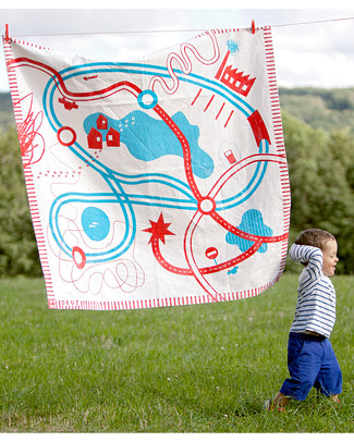 Deuz Tapikid Playmat Race - 100% Organic Cotton - Red Playmats