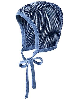Disana Baby Bonnet, Blue Melange - 100% merino wool Hats