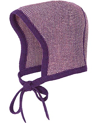 Disana Baby Bonnet, Plum Melange - 100% merino wool Hats
