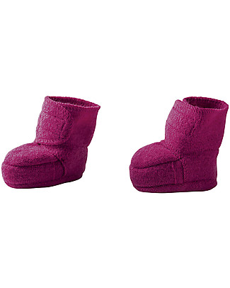 Disana Boiled wool booties, Berry Slippers