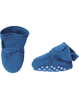 Disana Boiled wool booties, Blue Slippers