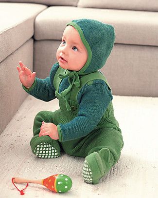 Disana Boiled wool booties, Green Slippers