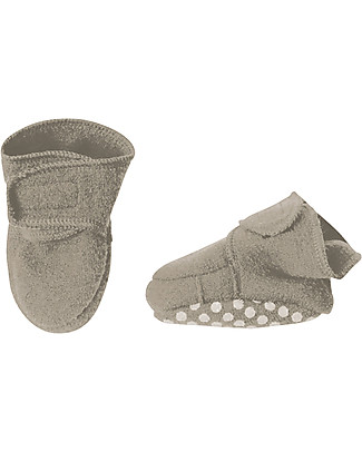 Disana Boiled wool booties, Light Grey Slippers