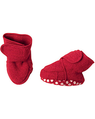 Disana Boiled wool booties, Red Slippers