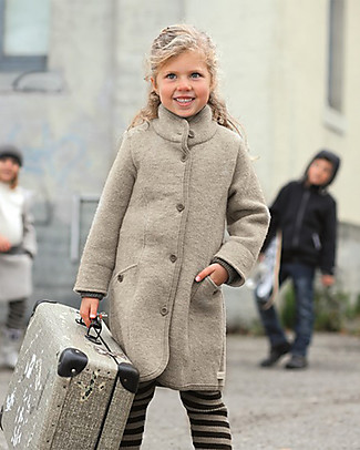 Disana Boiled Wool Girl's Coat, Light Grey Coats