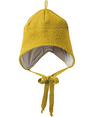 Disana Boiled Wool Hat with Strings, Curry - 100% merino wool Hats
