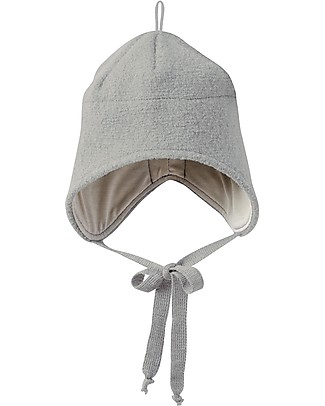 Disana Boiled Wool Hat with Strings, Grey - 100% merino wool Hats