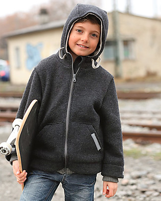 Disana Boy's Outdoor Jacket, Anthracite - Boiled wool Jackets