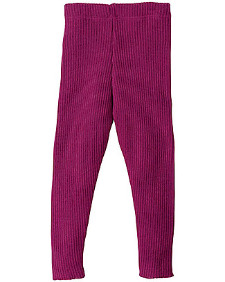 Disana Knitted Leggings, Berry - Pure Wool Leggings