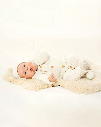 Disana Knitted Long Sleeved Overall, Natural - 100% merino wool Rompers