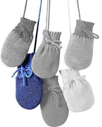 Disana Knitted Mittens, Blue Melange - 100% merino wool - 0-3 months Gloves e Mittens