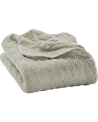 Disana Knitted Woollen Baby Blanket, Grey - 80x100 cm Blankets
