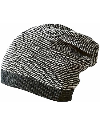 Disana Long Beanie, Anthracite Grey Melange - 100% merino wool Hats