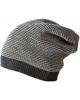 Disana Long Beanie, Anthracite Grey Melange - 100% merino wool Hats