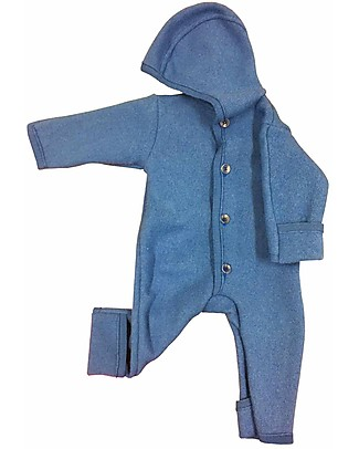 Disana Long Sleeved Boiled Wool Overall, Blue Snowsuits