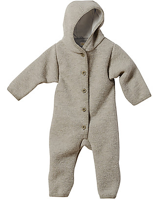 Disana Long Sleeved Boiled Wool Overall, Light Grey Snowsuits