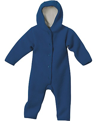 Disana Long Sleeved Boiled Wool Overall, Navy Blue Snowsuits