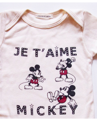Disney e Atsuyo et Akiko Je T'Aime Mickey Organic Body - Disney Screen Printed by Hand Short Sleeves Bodies