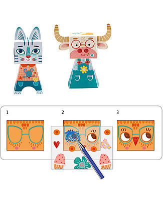 Djeco Action Transfers, Funny Animals - Draw the Animals! Colouring Activities