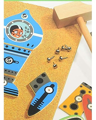 Djeco Educational Game, Tap Tap Space  - Wood and Cork Pretend Play