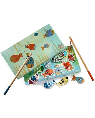 Djeco Magnetic Fishing Game, Fishes - Wood Wooden Stacking Toys