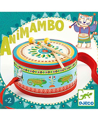 Djeco Musical Hand drum, Animambo - With Drumsticks Musical Instruments
