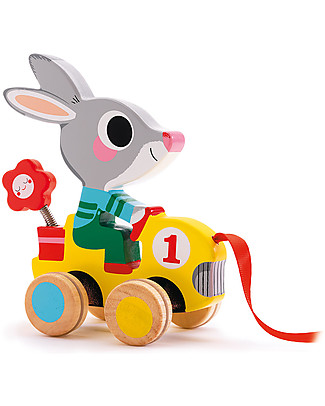 Djeco Pull Along Toy, Rabbit - Wood Wooden Push & Pull Toys