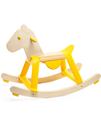 Djeco Rocking Horse, Yellow, Sit & Ride - Wood Rides On